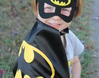 Batman Cape and Mask, Superhero Batman Cape, Batman costume, boys dress up, personalized cape, Batman Birthday Party, Batman and Robin toys