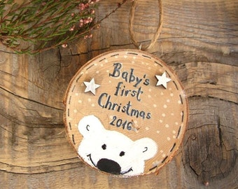 Baby's First Christmas Ornament, Wood Polar Bear, Personalized Ornament, New Baby Christmas Gift, Baby's 1st Christmas, Baby Shower Gift