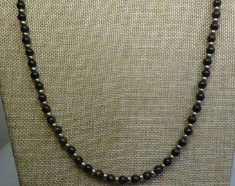 Black Brown Obsidian Necklace Pewter Glass Beads. (BBr01-16)