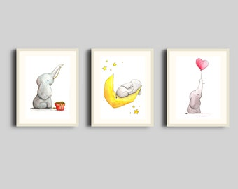 "3 Printable Illustrations ""Little Baby Elephant"""