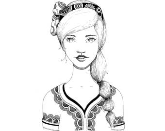 Coloring Page - Girl with braid and bow