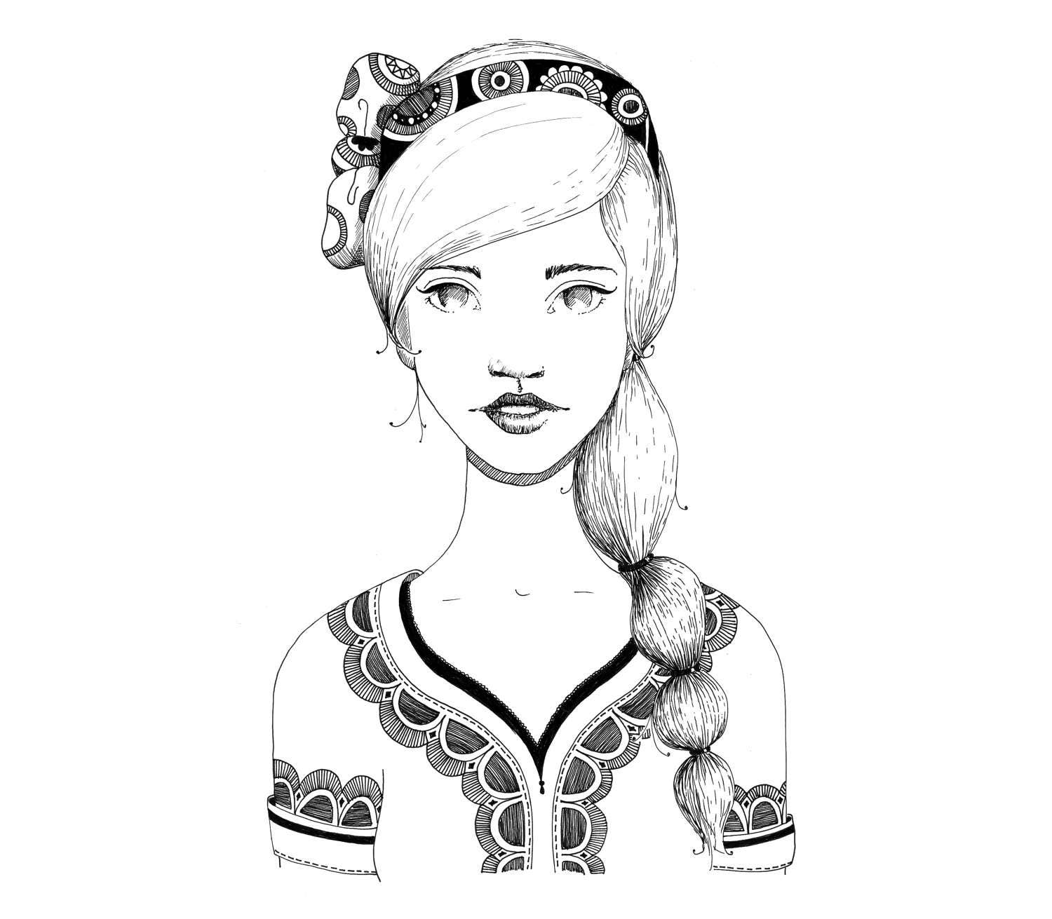 coloring page with braid and bow from buntegalerie on etsy