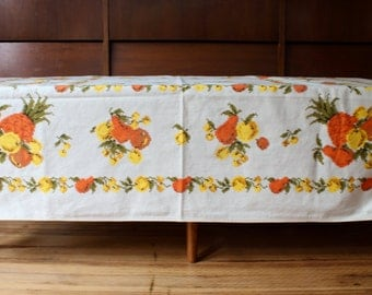 CLEARANCE***Retro 50s Pineapple Tablecloth, Fruit Tablecloth, Pears Lemon Pineapple, Orange and Yellow