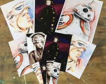 Queen Amidala (Padme, Natalie Portman) Rey (Daisy Ridley) DB 8  (Star Wars) Artworks Fanart (POSTAL CARD, Poster, Bookmark, marque page)