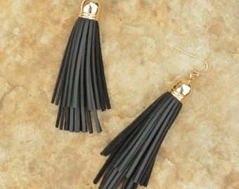 Long Double Layer Leather Tassel Earrings with Gold Plated Cuff