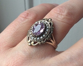 VINTAGE AMETHYST Seed Pearls Ring MARQUISE - Sparkly Stone - Steling silver - Beautiful Vintage Jewelry design