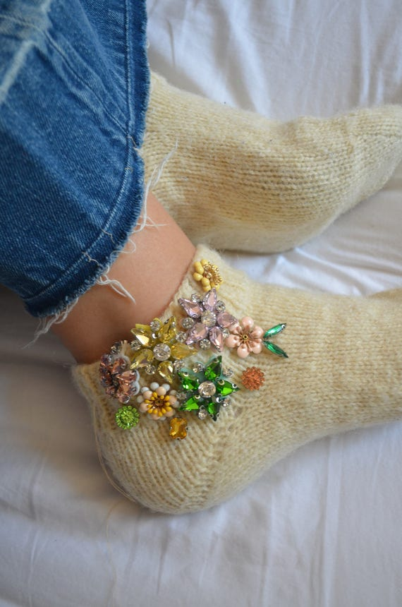 Handmade Woolly Embroidered Socks