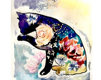 SPECIAL OFFER! 2 PRINTS Cat and bird Paintings, Cat Artwork, Giclee Floral Cat Print, wall art, cat art, Art Prints, bird art, bird print