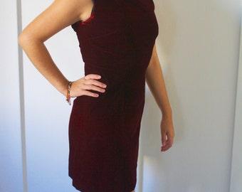 Maroon velvet mini dress