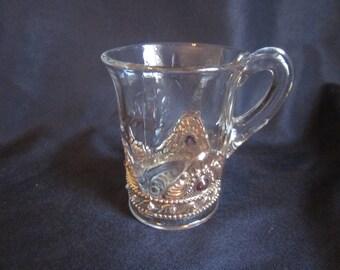 US Glass Company Colorado /Jewel / Lacy Medallion Style Large Souvenir Mug Antique