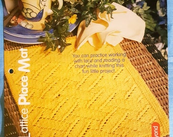 2000 House of White Birches Lace Lattice Place Mat Knitting Pattern Leaflet