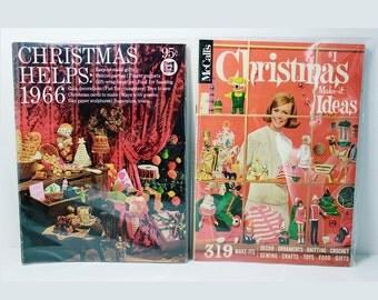 Vintage Christmas 60's McCalls Magazine Book, Make it Ideas 1966-Mid Century craft, knitting, sewing patterns & Christmas Helps Magazine