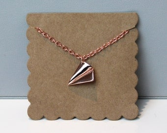 Rose Gold Paper Airplane Necklace // dainty rose gold necklace // with gift packaging