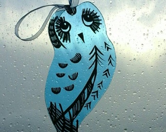 Owl painted on blue glass. Stained glass. Suncatcher. Hang in the window. Quirky.