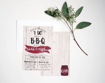 Printable I Do BBQ, Rehearsal Dinner Invitation, Digital Download