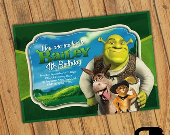 Shrek Invitation - Shrek Invite - Shrek Birthday Invitation - Shrek Birthday Party - Digital File Download