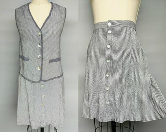 no rain / 90s gingham two piece set / button up skirt & matching vest / 12 14 16 large xl