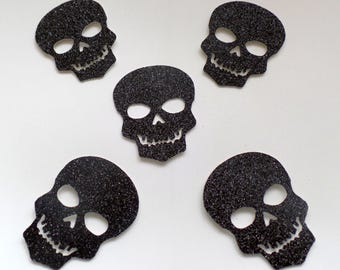 "2"" Skull Confetti (30 pieces) Black Glitter - Skull Table Decorations, Die Cut, Spooky, Party table scatter, Day of the dead, Scull"