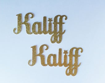 Custom Name Confetti LARGE (10 Pieces) Die Cut, Twinkle Twinkle Little Star - Gold Glitter - Cursive - Any Name, Word, Team