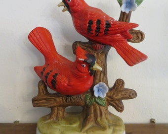 Red Cardinal Statue, pair northern birds,  figurine sculpture, vintage hand painted w/ free ship,