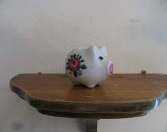 Miniature ceramic pig planter, doll house decor, flowered piggy tooth pic holder