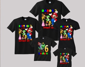 Super Mario Birthday Shirt Custom personalized shirts for all family, Black t2