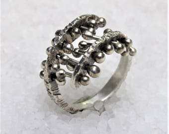silver ring, oxidized silver, double band