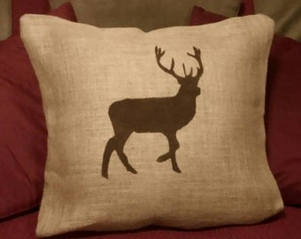 Deer Pillow, Deer Silhouette, Burlap Deer Pillow, Burlap Pillow, Country Decor, Country Primitive, Buck Pillow, Hunter Pillow, Outdoorsman