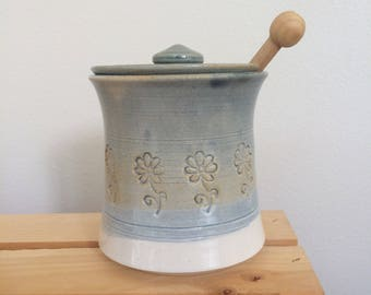 Handmade Lidded Ceramic Honey Pot or Sugar Pot With Honey Dripper, Light Blue and Ochre Glaze, Flower Pattern