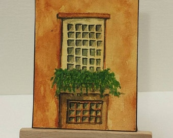 "Architecture, original ACEO painting,  2.5"" x 3.5"""