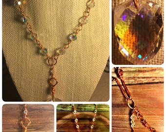 Clarisse: Handmade Copper and Crystal Necklace