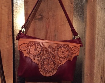 Hand tooled shoulder bag purse Red Leather Purse