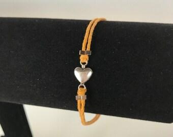 Orange heart bracelet