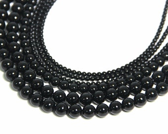 Black Onyx Beads 6mm 8mm 10mm 12 14 16mm Natural Black Gemstone Bead Black Mala Beads Black Onyx Bracelet Necklace Supplies Black Agate Bead