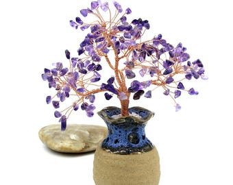 Natural Amethyst Wire Tree Sculpture Purple Gemstone Tree Bonsai Tree Wire Tree of Life Lucky Tree Energy Healing Feng Shui Tree Birth Stone