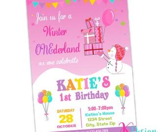 Snowman Girl Invitation, Birthday Invitation Printable