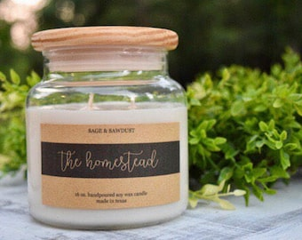 THE HOMESTEAD - Handpoured Soy Candle- 16 oz & 9 oz