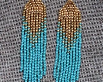 Native American Beaded Earrings handmade seed bead Earrings Gift for girl, Long Beaded Earrings, Beaded Colorful Earrings, Jewelry