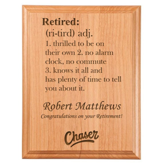 Retired definition plaque from engravedgiftsco on etsy studio - Plaque de finition ...