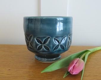Green Blue Stamped Porcelain Yunomi Tea Bowl