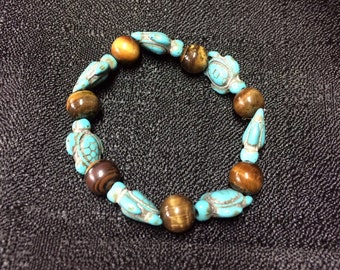 Tigers eye sea turtle bracelet, turquoise sea turtle bracelet, sea turtle jewelry, tigers eye bracelet, turquoise bracelet