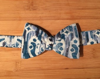Blue Cotton Self-tie Bow Tie