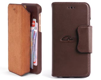 iPhone 6 Leather Case - iPhone 6 Flip Case - iPhone 6 Wallet Case Leather - Wallet Case iPhone 6 - Folio case - Stand - BROWN