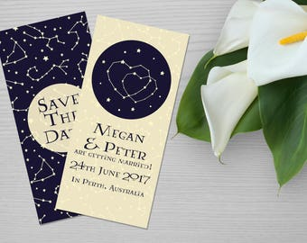 Constellation Style Save The Date Personalised Printable