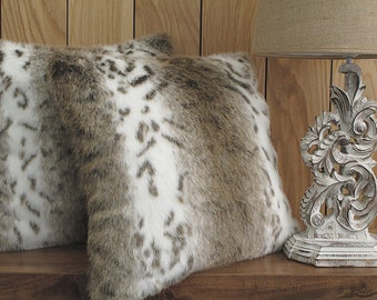 Luxurious Beige Lynx faux fur cushion covers, cushions, pillow covers in choice of 2 sizes. Matching throws available.