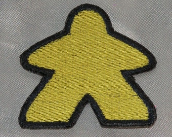 New Embroidered Yellow Classic Meeple Board Gamer Patch Iron On Sew On