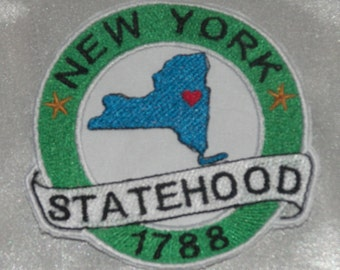 Embroidered New York State Pride Statehood NY Souvenir Patch Iron On Sew On USA