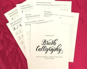 Printable Introduction to Brush Calligraphy Workbook Worksheets; Capitals, Lowercase, Numbers, and Punctuations