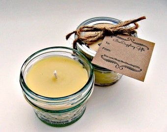 Purifying Organic Beeswax Candle Gift 4 oz., Winter Candle Gift, Hostess Gift, Mason Jar Candle, Spa Gift, Natural Candle, Winter Home Decor
