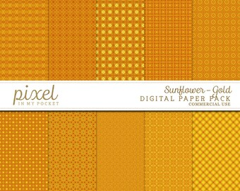 Sunflower Gold Yellow Orange Patterned Digital Scrapbooking Paper [Part 1] Instant Download